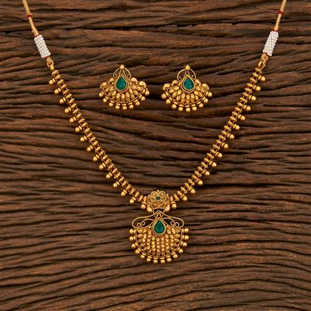 207898 Antique Delicate Necklace With Matte Gold Plating