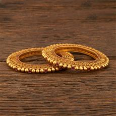 207902 Antique Openable Bangles With Matte Gold Plating