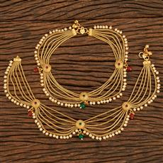 207915 Antique Classic Payal With Gold Plating