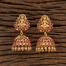 207920 Antique Temple Earring With Matte Gold Plating