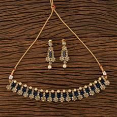 207927 Antique Choker Necklace With Mehndi Plating
