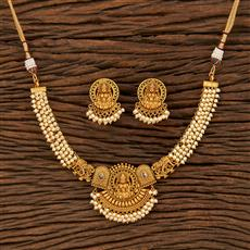 207942 Antique Temple Necklace With Matte Gold Plating