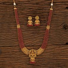 207944 Antique Temple Necklace With Matte Gold Plating