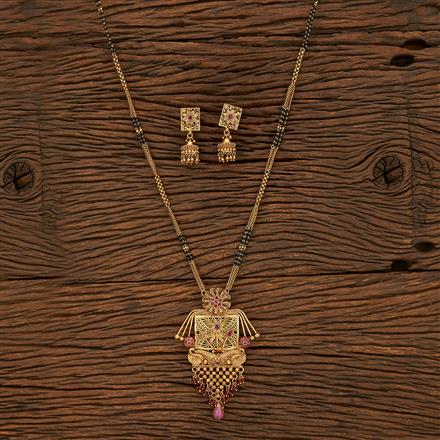 207951 Antique Classic Mangalsutra With Gold Plating