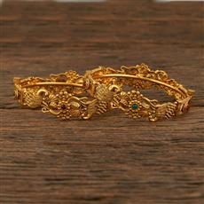 207971 Antique Peacock Bangles With Matte Gold Plating