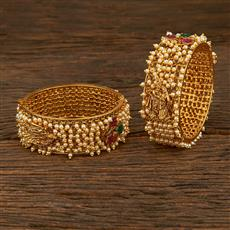 208014 Antique Temple Bangles With Gold Plating