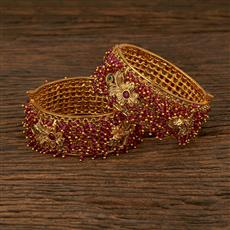 208017 Antique Temple Bangles With Gold Plating