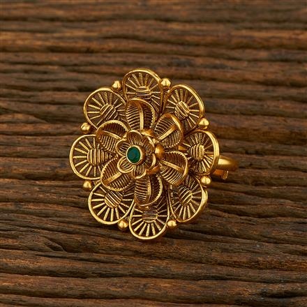 208122 Antique Classic Ring With Matte Gold Plating