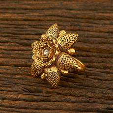 208124 Antique Classic Ring With Matte Gold Plating