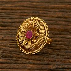 208125 Antique Delicate Ring With Matte Gold Plating