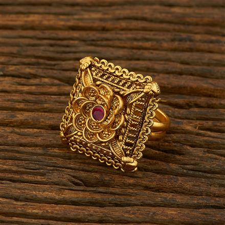 208127 Antique Classic Ring With Matte Gold Plating