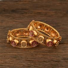208163 Antique Openable Bangles With Matte Gold Plating