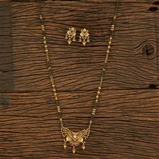 208171 Antique South Indian Mangalsutra With Matte Gold Plating