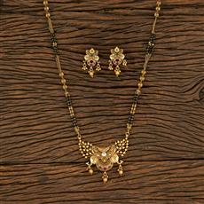 208172 Antique South Indian Mangalsutra With Matte Gold Plating