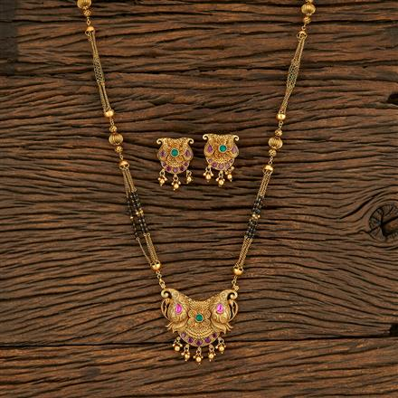 208173 Antique South Indian Mangalsutra With Matte Gold Plating