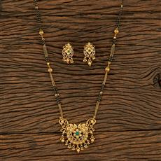 208174 Antique Classic Mangalsutra With Matte Gold Plating