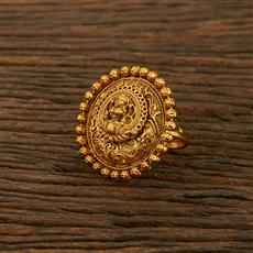208181 Antique Temple Ring With Matte Gold Plating
