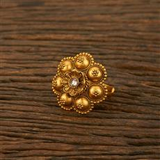 208182 Antique South Indian Ring With Matte Gold Plating