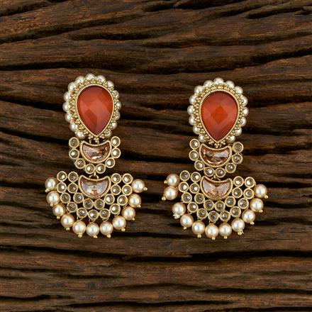 208215 Antique Chand Earring With Mehndi Plating