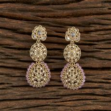 208217 Antique Long Earring With Mehndi Plating