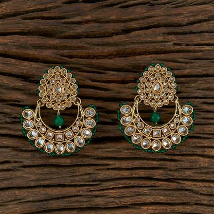 208218 Antique Chand Earring With Mehndi Plating