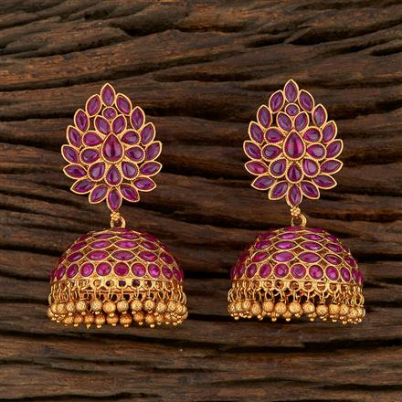 208225 Antique Jhumkis With Matte Gold Plating