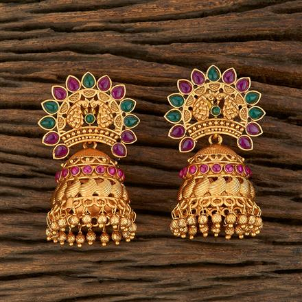 208226 Antique Jhumkis With Matte Gold Plating