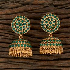 208227 Antique Jhumkis With Matte Gold Plating