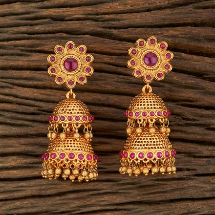 208228 Antique Jhumkis With Matte Gold Plating