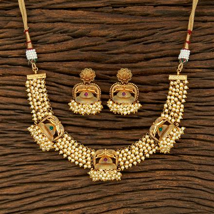208235 Antique Pearl Necklace With Gold Plating