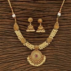 208236 Antique Pearl Necklace With Gold Plating