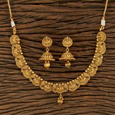 208237 Antique South Indian Necklace With Matte Gold Plating