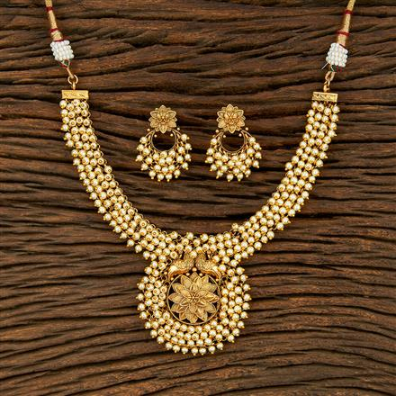 208238 Antique Pearl Necklace With Gold Plating