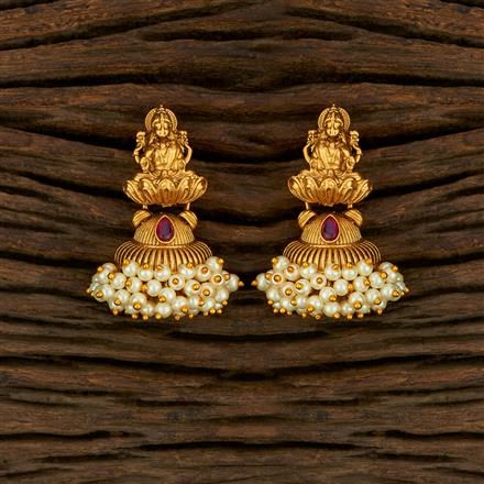 208239 Antique Temple Earring With Matte Gold Plating