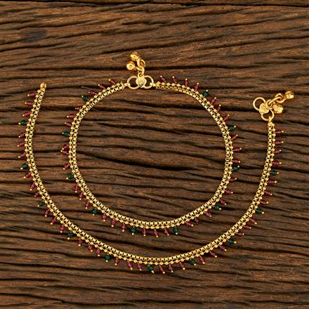 208240 Antique Delicate Payal With Gold Plating