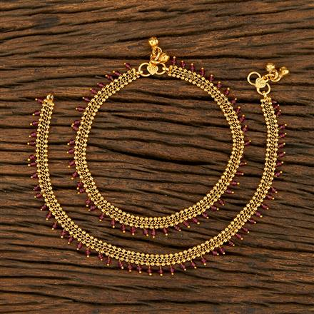 208242 Antique Delicate Payal With Gold Plating