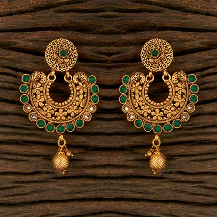 208256 Antique Chand Earring With Matte Gold Plating