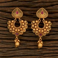208257 Antique Chand Earring With Matte Gold Plating
