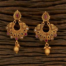 208258 Antique Chand Earring With Matte Gold Plating
