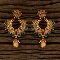 208259 Antique Chand Earring With Matte Gold Plating