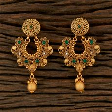 208260 Antique Chand Earring With Matte Gold Plating