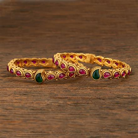 208262 Antique Openable Bangles With Matte Gold Plating