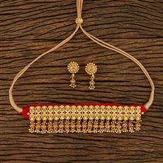 208268 Antique Choker Necklace With Gold Plating