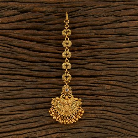 208297 Antique Plain Tikka With Gold Plating