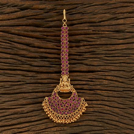 208310 Antique South Indian Tikka With Matte Gold Plating