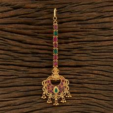 208311 Antique Temple Tikka With Matte Gold Plating