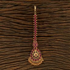 208312 Antique South Indian Tikka With Matte Gold Plating