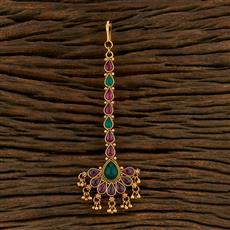 208313 Antique South Indian Tikka With Matte Gold Plating