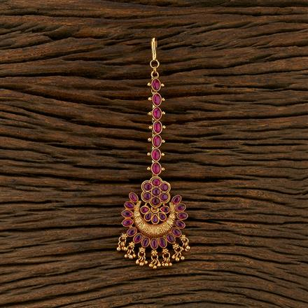 208314 Antique South Indian Tikka With Matte Gold Plating