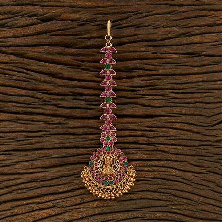 208315 Antique South Indian Tikka With Matte Gold Plating